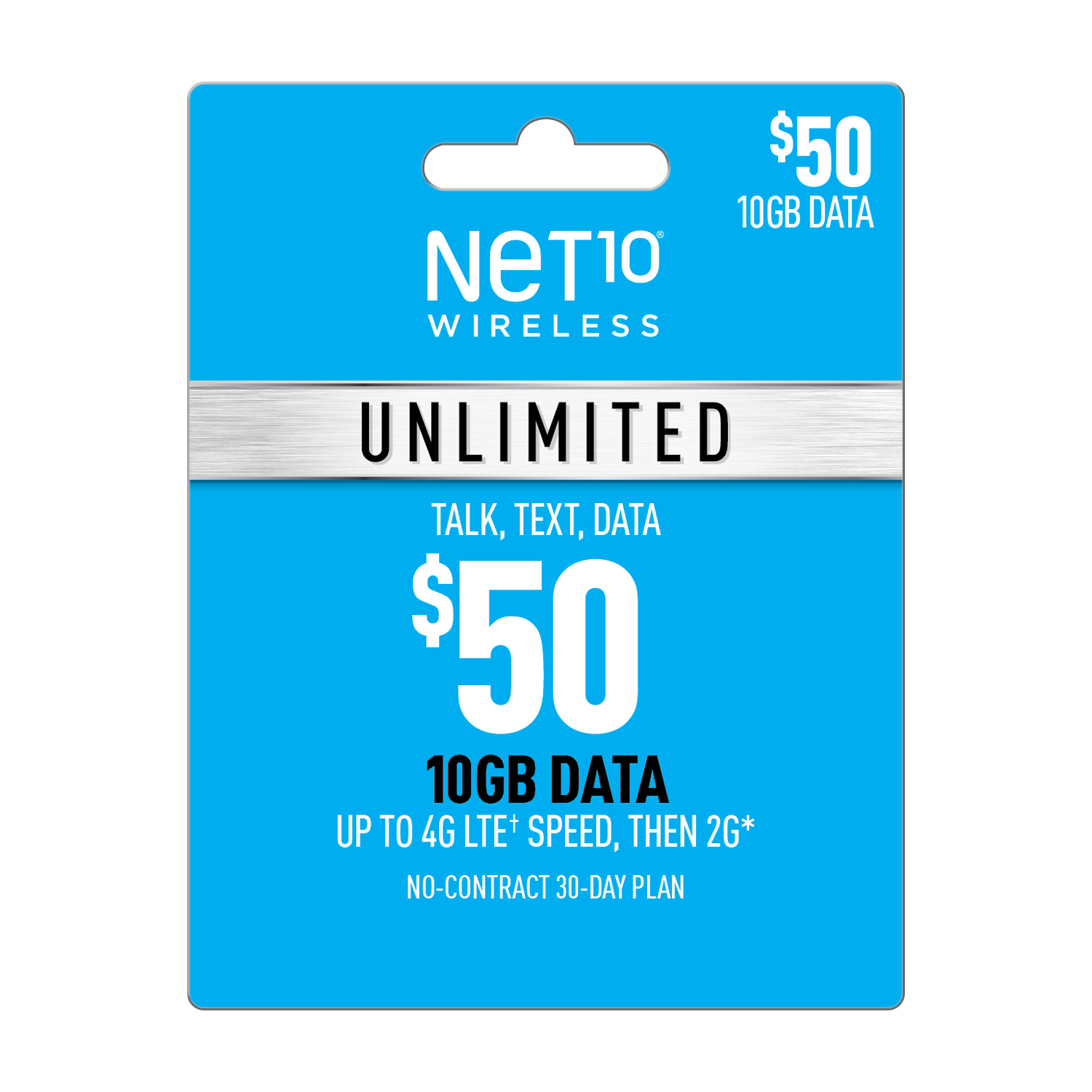 Net10 $50 Unlimited 30 Day Plan (10GB of data at high speed, then 2G*) (Email Delivery)