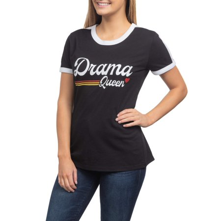 - Drama Queen Juniors' Generic Contrast Ringer Graphic Short Sleeve T-Shirt