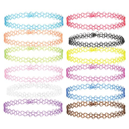 Plastic Rosary Necklace (12PCS Choker Necklace Gothic Henna Tattoo Stretch Elastic Rainbow Plastic Jewelry Pack)