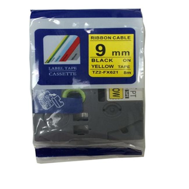 Nextpage TZE-FX621 Compatible Brother Flexible Cassette Tape Label For Cable & Wire  Black On Yellow - Pack Of 3