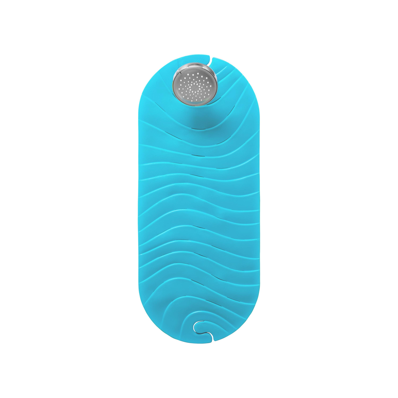 Boon Ripple Rubber Bathtub Mat Slip Free Baby Bath Mat With Suction Cups And Drain Holes Blue Walmart Com Walmart Com