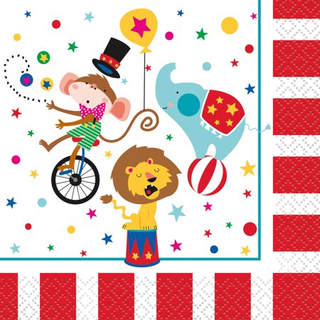 Circus Carnival Paper Beverage Napkins, 5 in, - Carnival Napkins