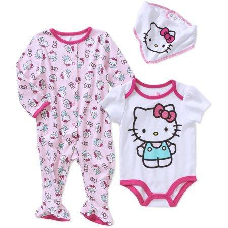 Hello Kitty Newborn Baby Girl Footed Sleeper, Bodysuit, and Bib 3-Piece Layette Set