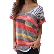 Summmer Womens Casual V Neck Colorful Striped T Shirt Ladies Sport Running Party Short Sleeve Blouse Tops Casual Tee