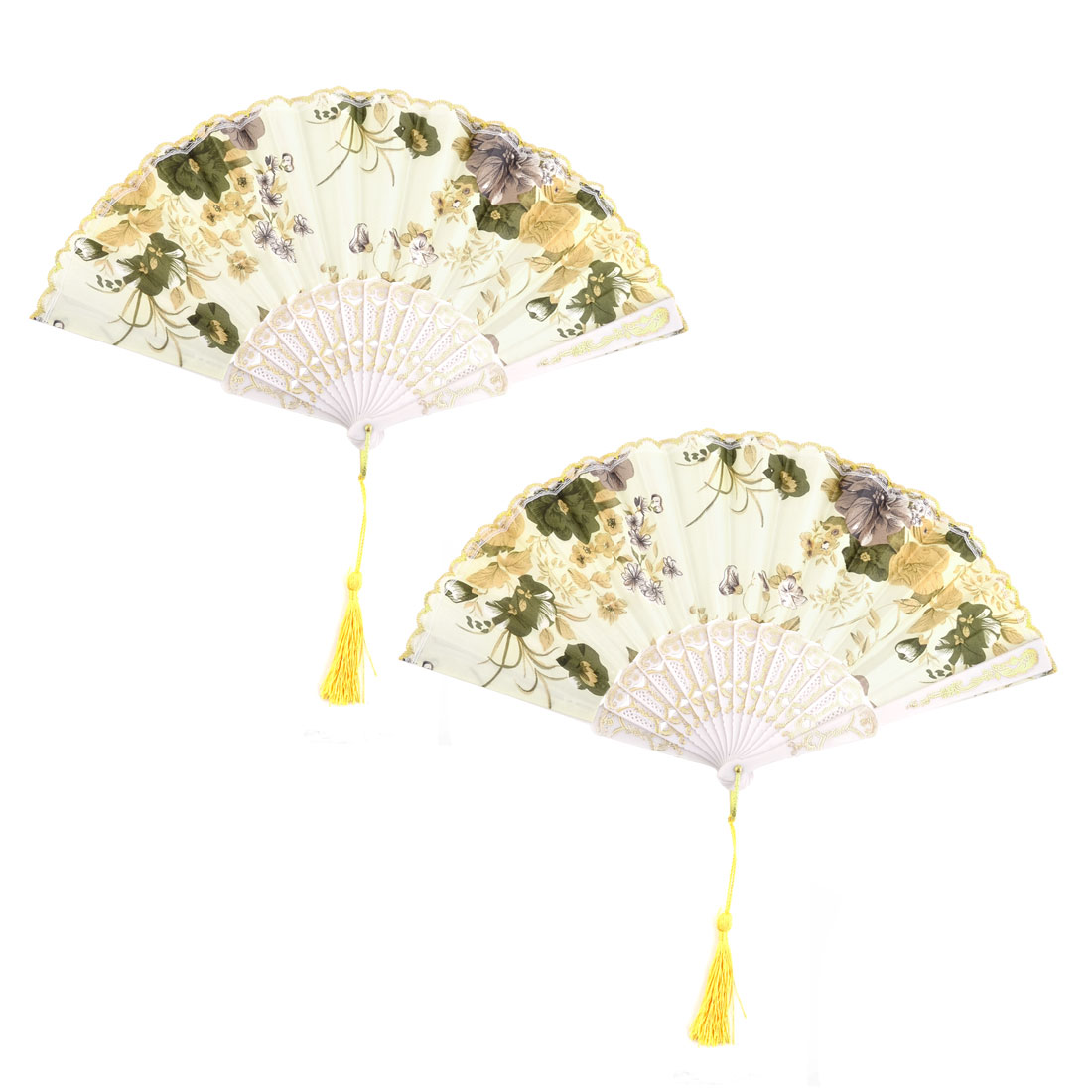 Household Wedding Plastic Flower Pattern Folding Cooling Hand Fan 23.5cm Length - image 5 of 5