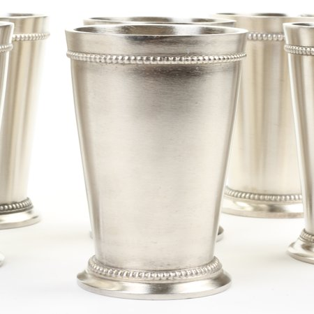 Koyal Wholesale Set of 6 Mint Julep Cups, For Classic Mint Julep Recipe, 12oz Silver Cup with Fancy Beaded Edge - Easy Halloween Recipes For Parties