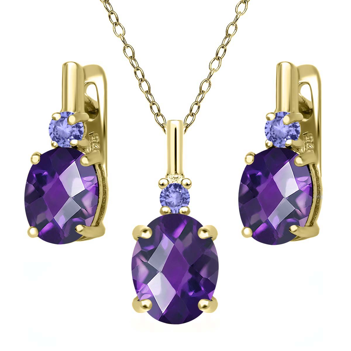 4.88 Ct Oval Checkerboard Purple Amethyst Blue Tanzanite 18K Yellow Gold Plated Silver Pendant Earrings Set by