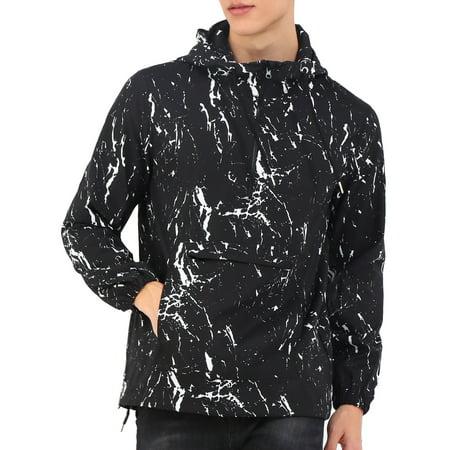 Men's Printed Splatter Pattern Windbreaker Pullover Half Zip Hooded
