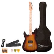 Rise by Sawtooth Left-Handed 3/4 Size Student Electric Guitar Bundle, Sunburst