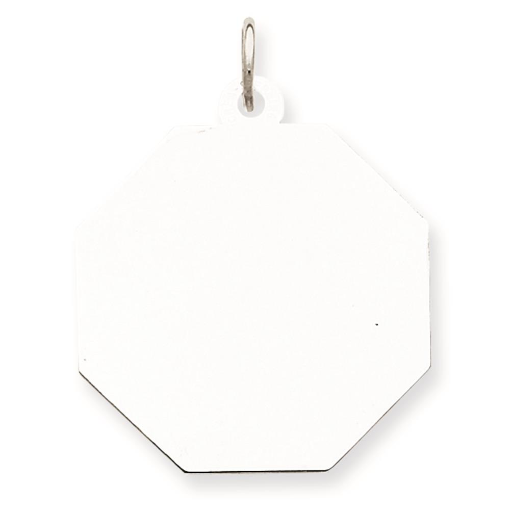 Sterling Silver Engravable & Polished Octagon Disc Charm Pendant