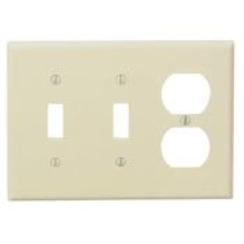 Cooper PJ28V Ivory Mid-Size Unbreakable Three Gang Two Toggle Switch One Duplex Outlet Wall (2 Gang One Way Switch Wiring Diagram)