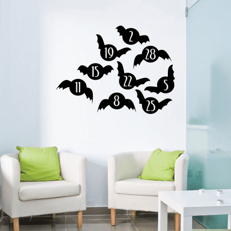 Halloween Bats number Game Holiday Vinyl Wall Decal Mural Quotes Words ARTH4C5compact - 36 Inches