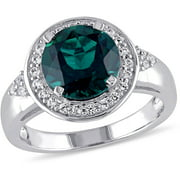 2-3/4 Carat T.G.W. Created Emerald and Created White Sapphire Sterling Silver Halo Engagement Ring