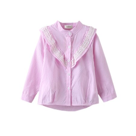 Little Tee Tee Lace And Trims (stylesilove Kids Girl Long Sleeve Lace Trim Stripe Cotton Shirt (100/2-3 Years,)