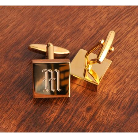 Personalized Oval Polished Cufflinks (Personalized High Polish Brass Cufflinks - Monogrammed Brass)