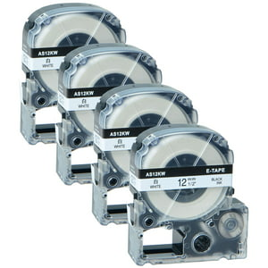 GREENCYCLE 4PK Black on White Label Tape Compatible for EPSON LK-4WBN LC-4WBN9 SS12KW (12mm 1|2