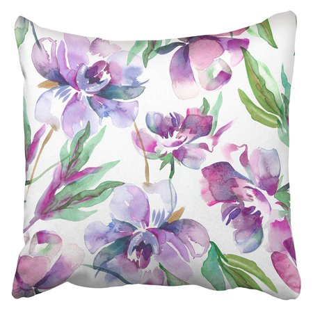 CMFUN Purple Floral Peonies Watercolor Colorful Water Color Flower Paint Japanese Abstract Pillowcase Cushion Cover 20x20 inch