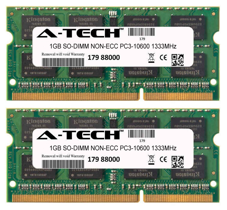2GB Kit 2x 1GB Modules PC3-10600 1333MHz NON-ECC DDR3 SO-DIMM Laptop 204-pin Memory Ram