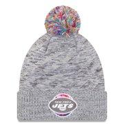 New York Jets New Era 2020 NFL Crucial Catch Sport Pom Cuffed Knit Hat - Gray - OSFA