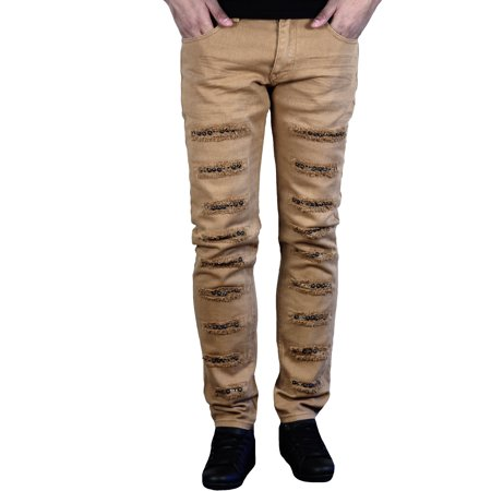 Men's Stretch Skinny Fit Jeans with Rips and Studs from Krome
