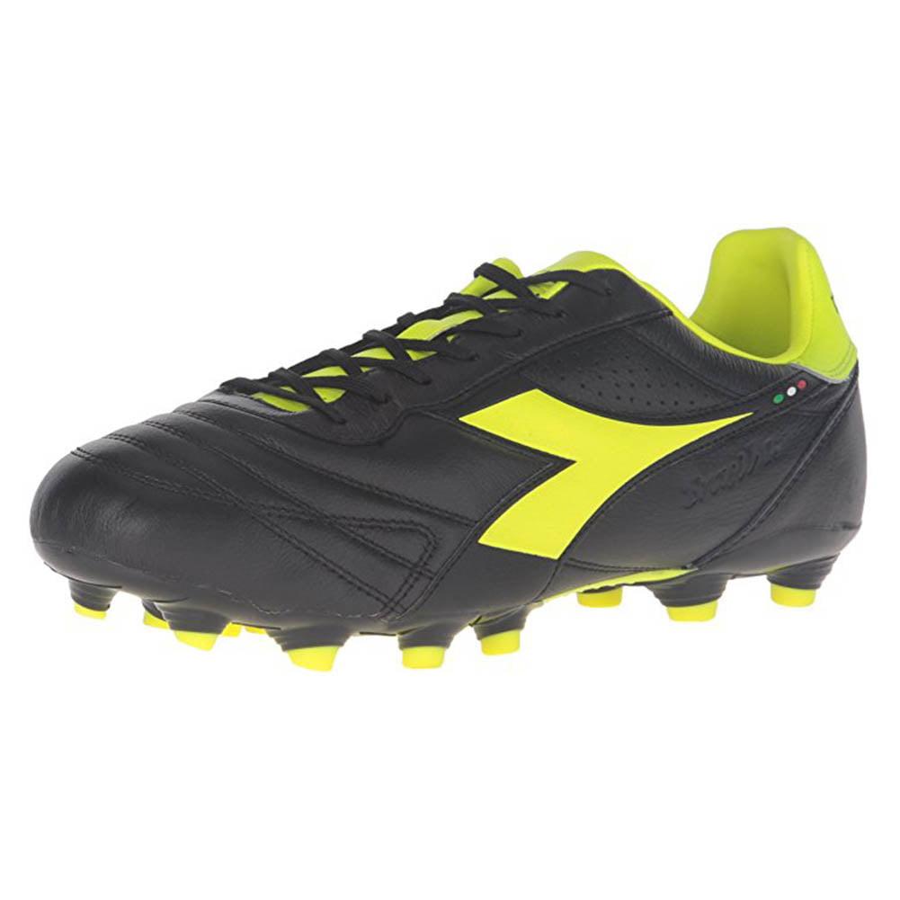 Diadora Men's Brasil K Plus MG 14 Soccer Cleats Black Kangaroo Leather Polyurethane 6.5 M