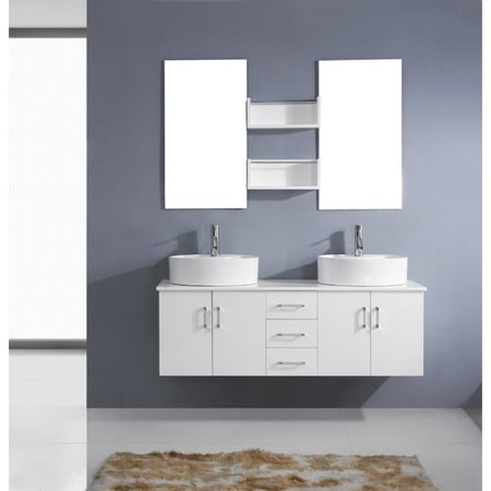 Virtu Usa Enya 59 Double Bathroom Vanity Set With White Top And Mirror