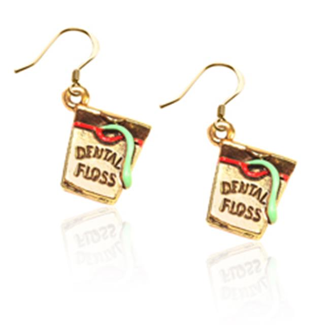 Whimsical Gifts 63G-ER Dental Floss Charm Earrings, Gold