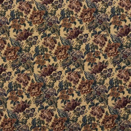 Designer Fabrics F672 54 in. Wide Beige, Green And Burgundy, Vintage Floral Tapestry Upholstery