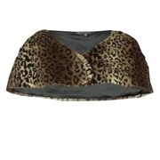 Marina Women's Faux Fur Animal Print Wrap (L, Brown)