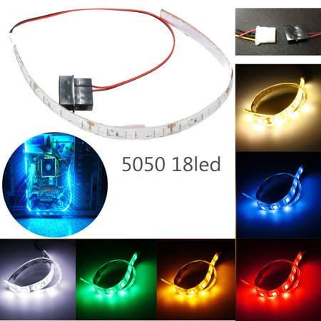 Flexible 5050 18 SMD LED Strip Case Strip Light For PC Computer Case DC12V Red/Blue/Green/Yellow/Pure White/Warm - Led Light Computer Case