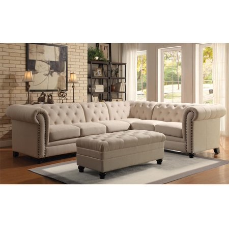 Simple Relax 1perfectchoice Roy Elegant On Tufted Sectional Sofa Rolled Arm Nailhead Oatmeal Ottoman