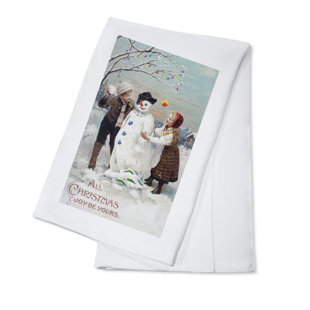 All Christmas Joy Be Yours Kids Making Snowman Scene - Vintage Holiday Art (100% Cotton Kitchen Towel)
