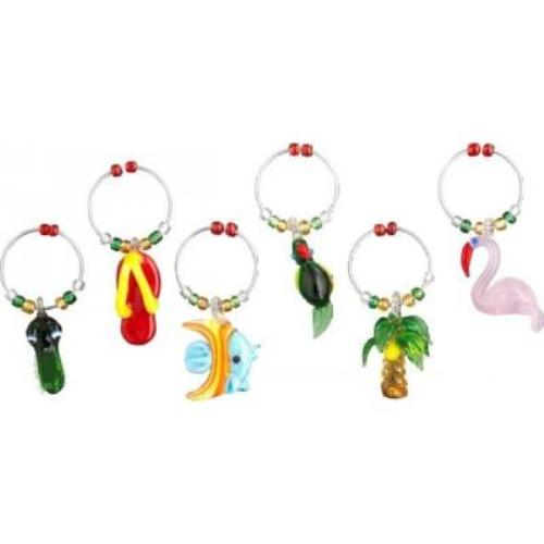 Summer Travel Destination Tropics Fun Glass Wine Charms Set of 6