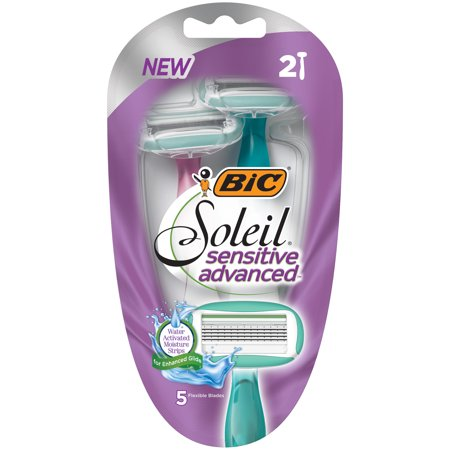 BIC Soleil Sensitive Womens 5-Blade Disposable Razor -- Pack of 2 Womens Razors