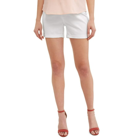 Time and Tru Maternity Denim Shorts with Side Panel (A-line Maternity Shorts)