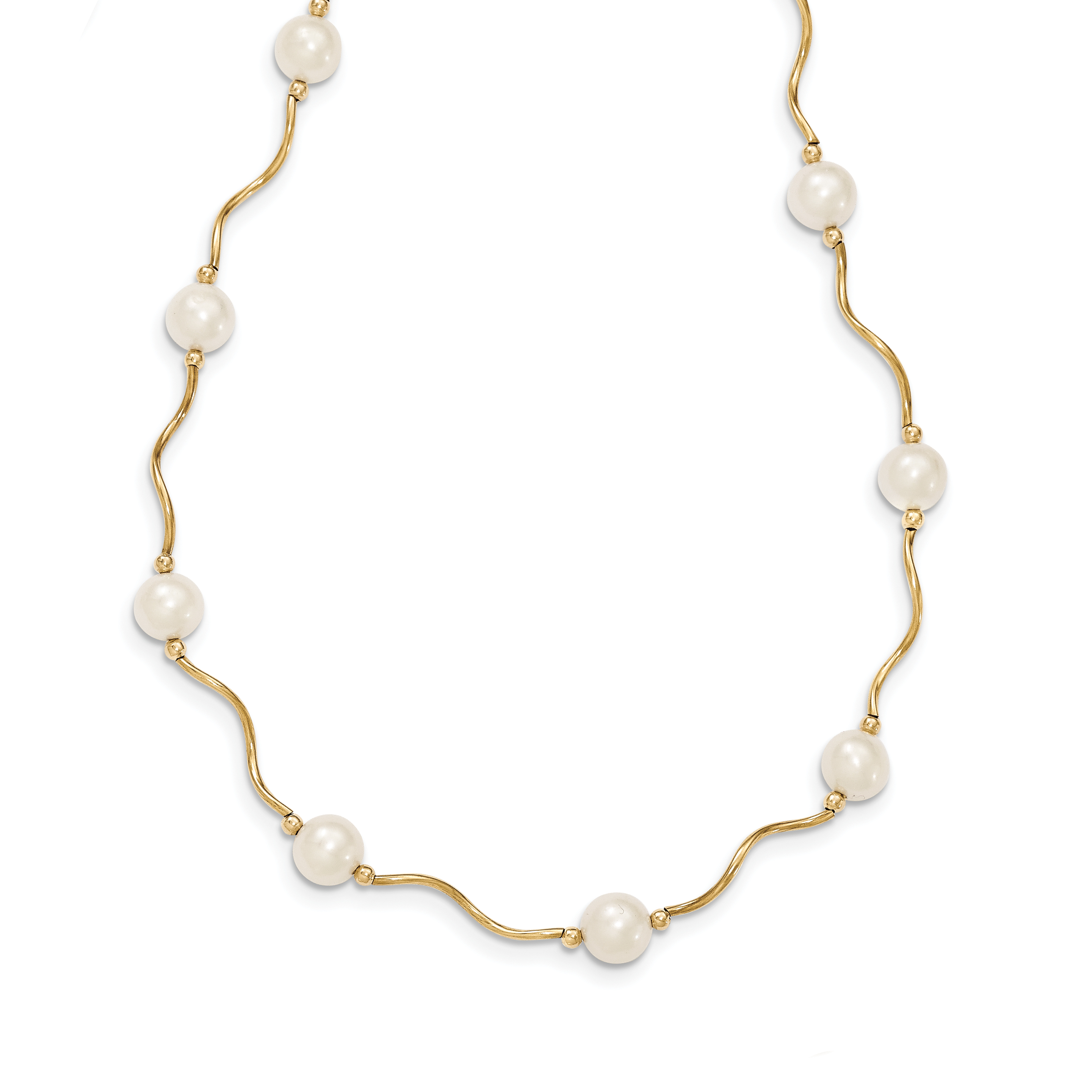 14K Gold Curved Bead and 6-7mm White FW Cultured Pearl Necklace by Saris and Things QG