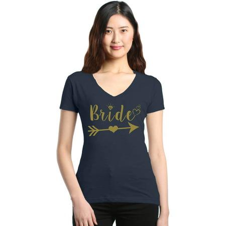 Shop4Ever Women's Bride Heart Arrow Gold Bridal Wedding Slim Fit V-Neck T-Shirt