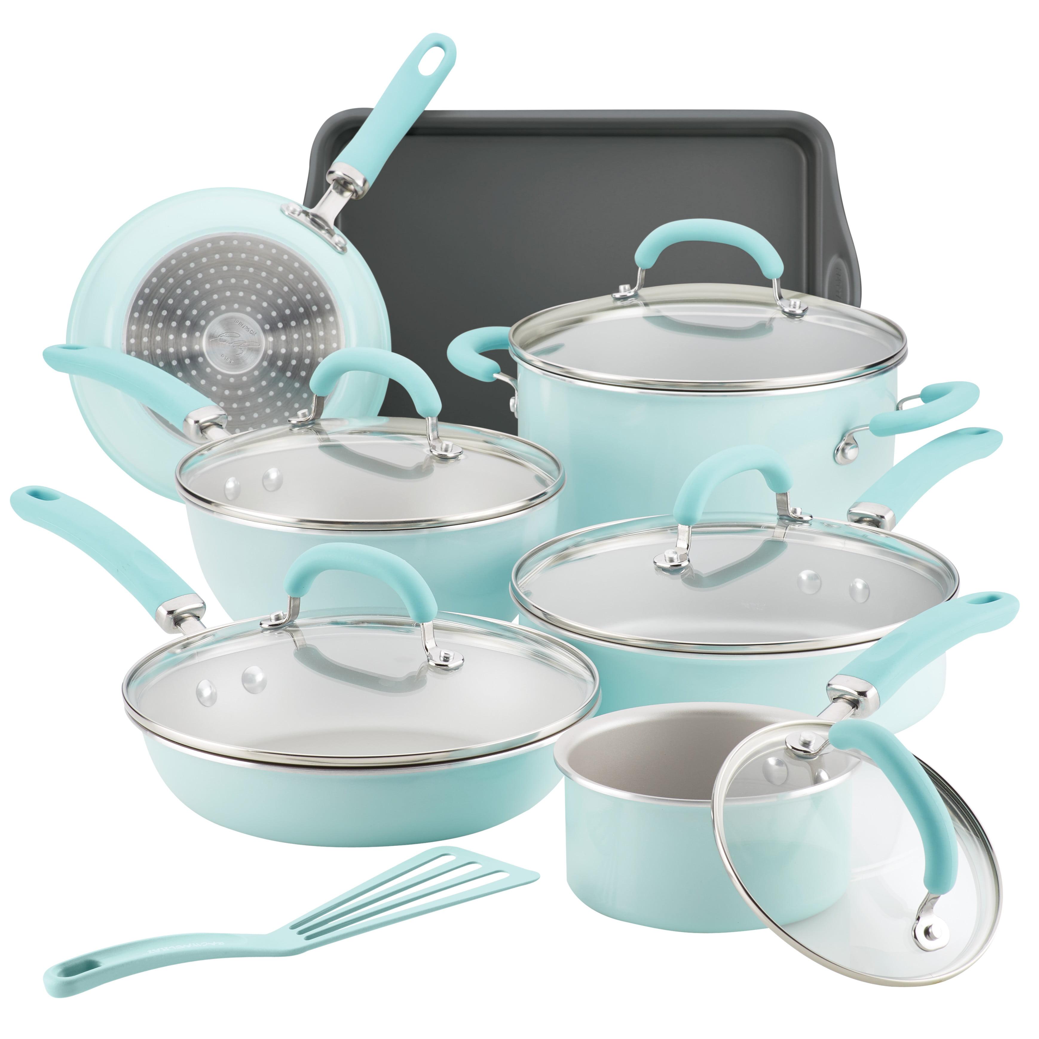 Rachael Ray 13 Pc Create Delicious Aluminum Nonstick Cookware Set, Light Blue Shimmer