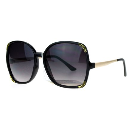 SA106 Diva Oversize Butterfly Retro Bling Womens Sunglasses Black Smoke