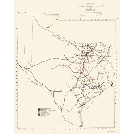 Railroad Map Of Texas.Old Railroad Map Texas Railway Junction Points Bissell 1891 23 X 29 20