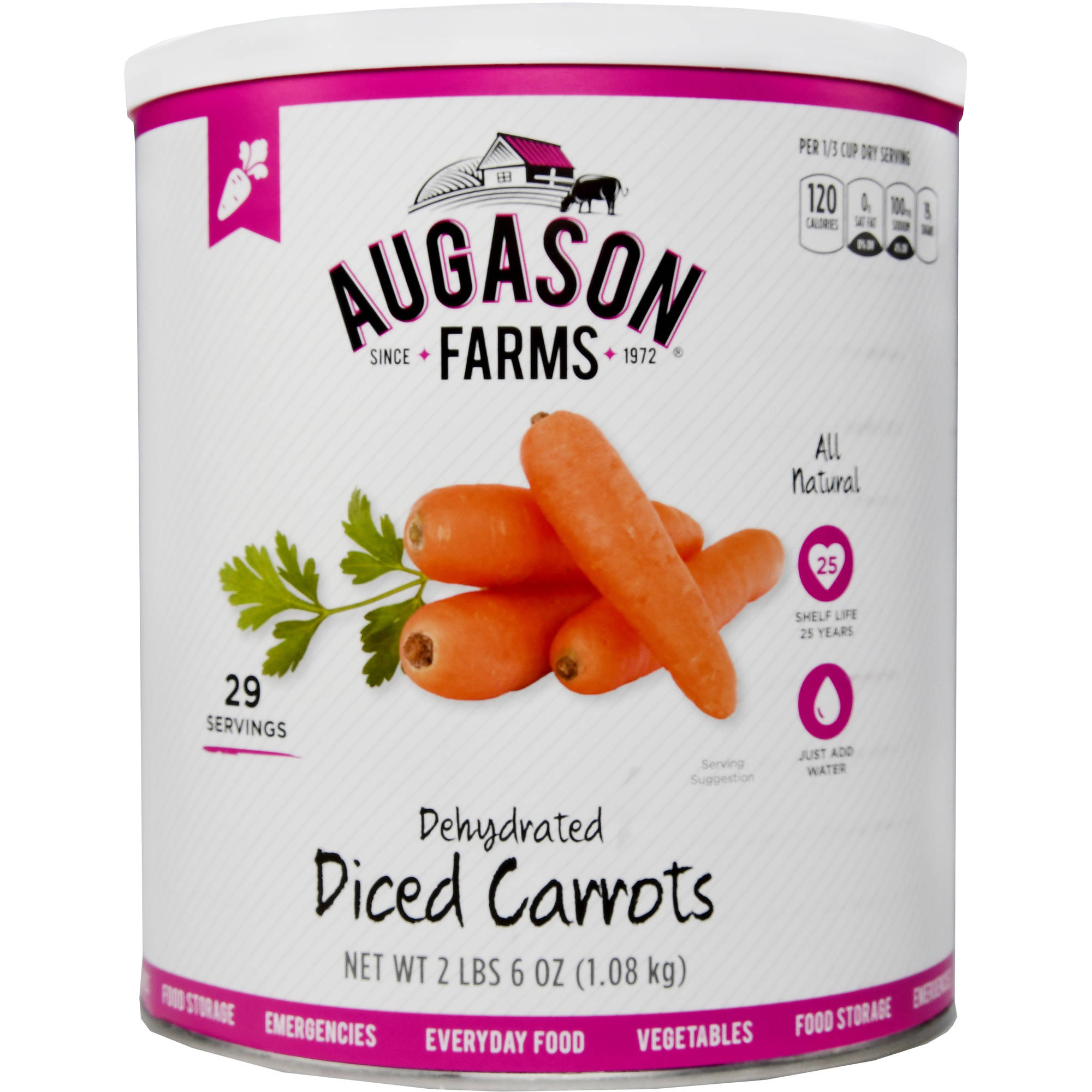 Augason Farms Emergency Food Dehydrated Diced Carrots, 38 oz