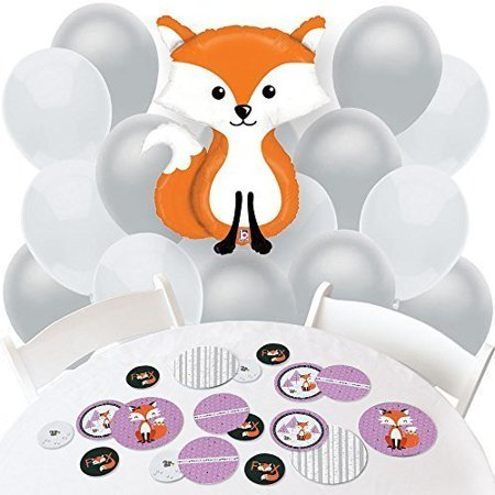 Miss Foxy Fox - Confetti and Balloon Party Decorations - Combo Kit