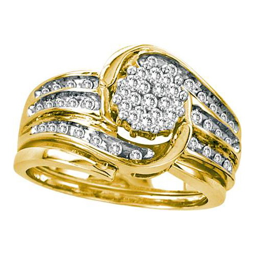 14K Yellow Gold 0.50ct Fancy Channel Set Diamond Swirling Flower Bridal Set Ring by Jewelrypot