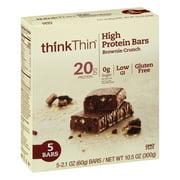 thinkThin High Protein Bar, Brownie Crunch, 20g Protein, 5 Ct