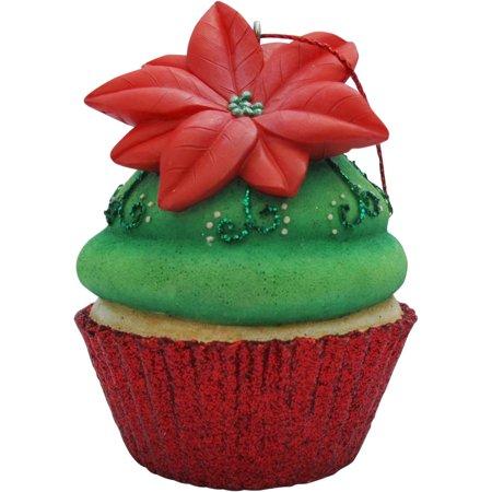 Green Poinsettia Cupcake Christmas Tree Ornament - Walmart.com