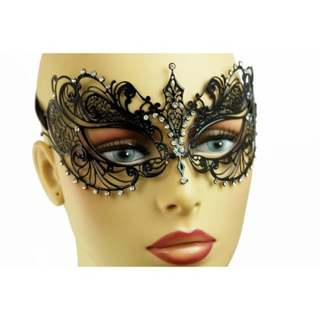 Black Masquerade Mask For Men (Kbw Women's Laser Cut Metal Venetian Pretty Masquerade Mask,)