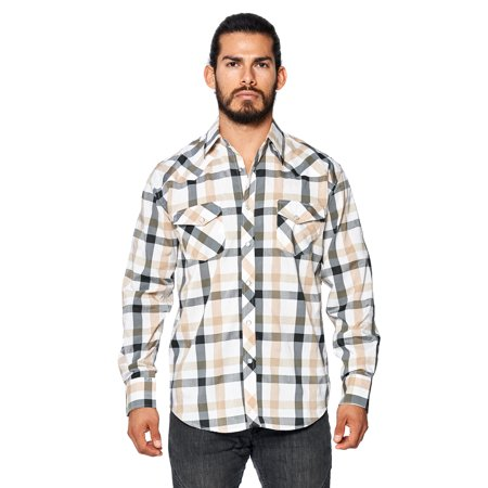 - LW Men's Classic Plaid Checkered Western Rodeo Pearl Snap Button Up Shirt (LW126 #18, 2XL)