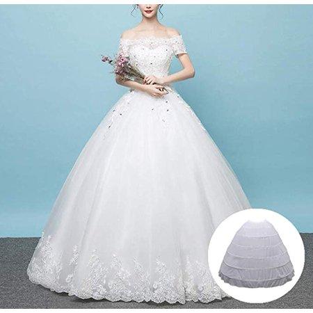 WALFRONT Bridal Crinoline, 6-hoop Hoops Petticoat White Bridal Crinoline Petticoats Slips Underskirt Women Crinoline Petticoat Hoop for Wedding Dress Ball Gown