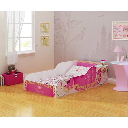 Rack Furniture Pink Princess Toddler Bed With Side Shelf