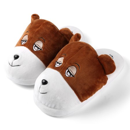 Bear Plush Slipper - Adults's Plush Cartoon Animal Cozy House Slippers for Indoors (Bear)